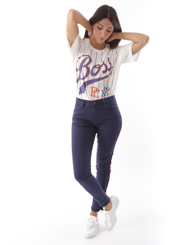 Salt & Pepper Isabel navy blue band trousers