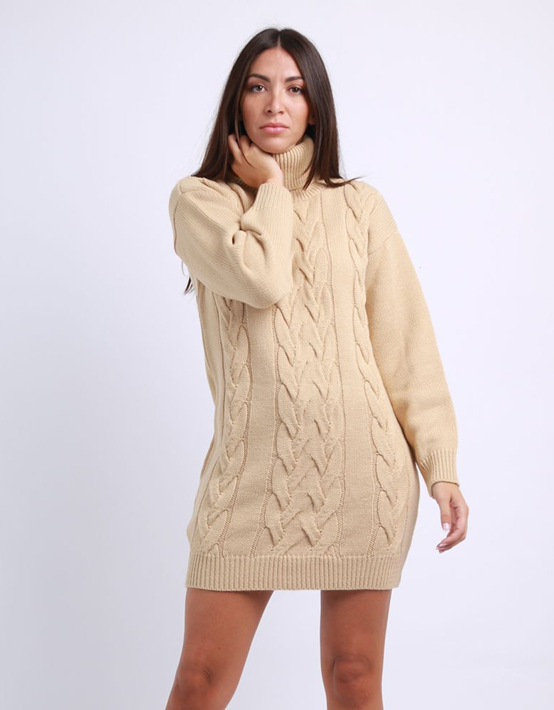 Combos Knitwear Combos F28 - Camel turtleneck kintted dress