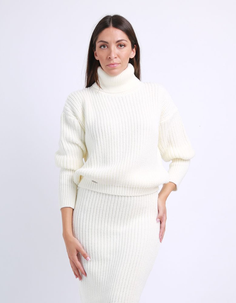 Combos Knitwear Combos F66 - White knitted skirt