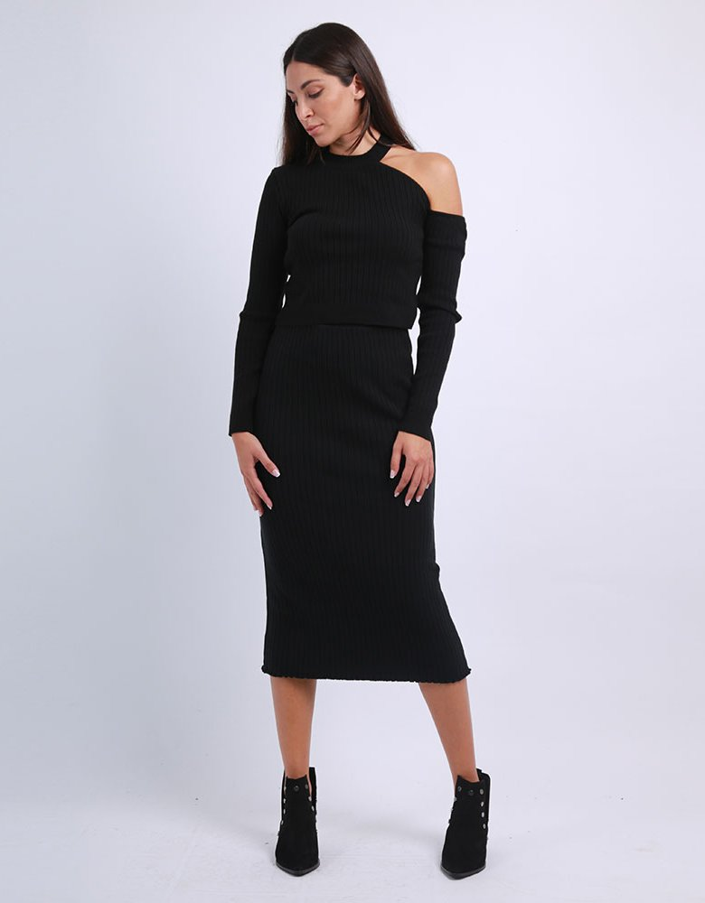 Combos Knitwear Combos F52 - Black knitted skirt