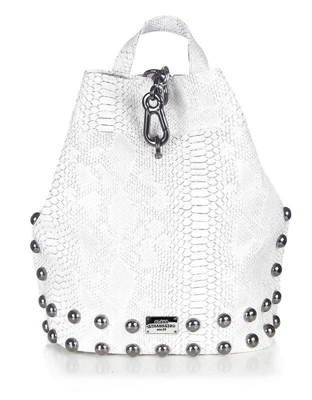 Elena Athanasiou Backpack white snake