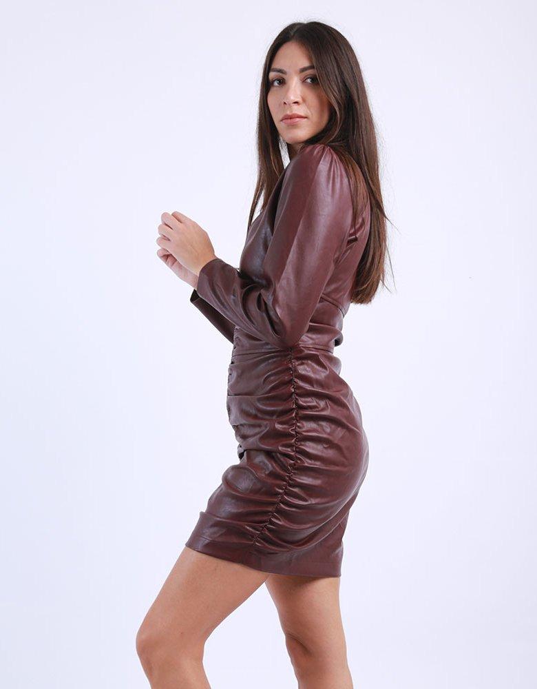 Kendall + Kylie KK Vegan leather burgundy dress