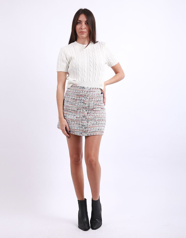 Milk White Multi knitted skirt