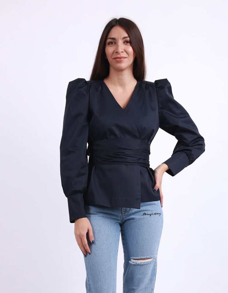 Milk White Navy blue wrap shirt