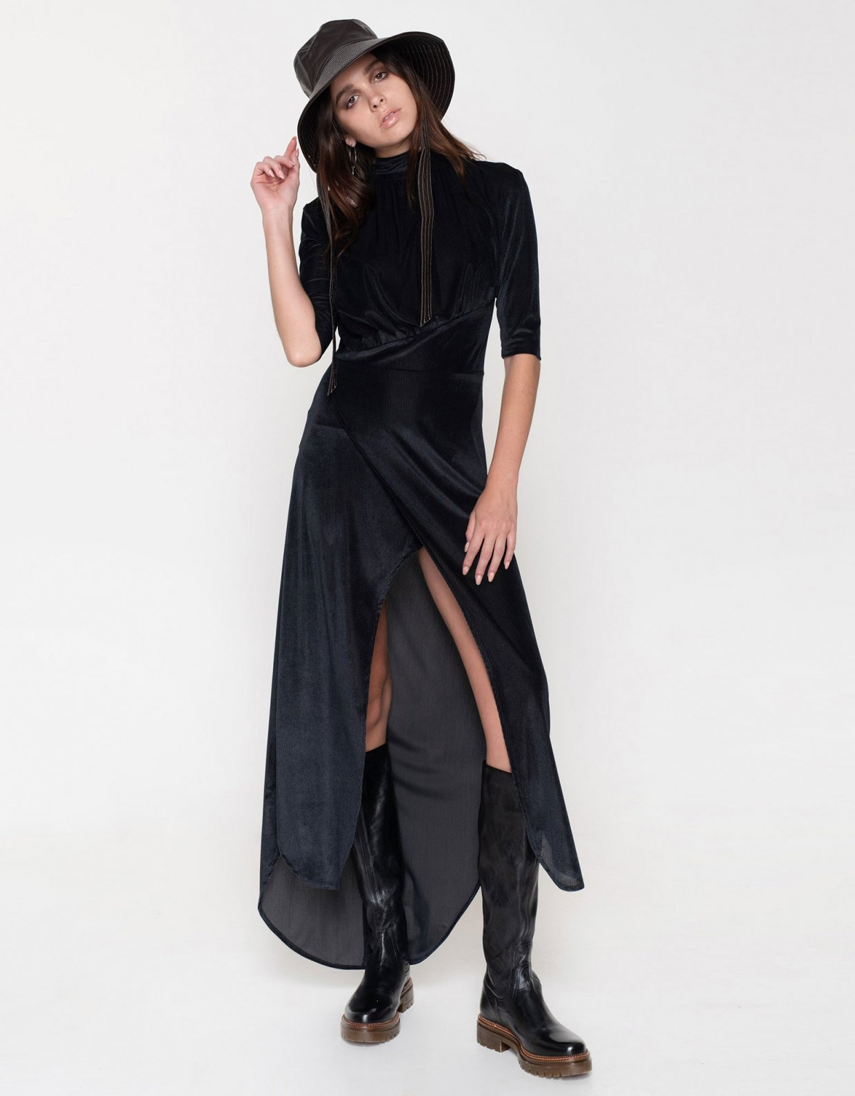 Nadia Rapti Muse cord dress black