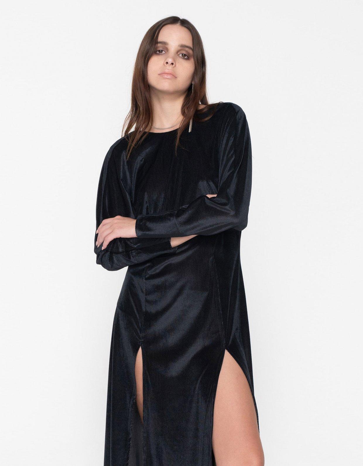 Nadia Rapti R.E.M. cord slit dress black