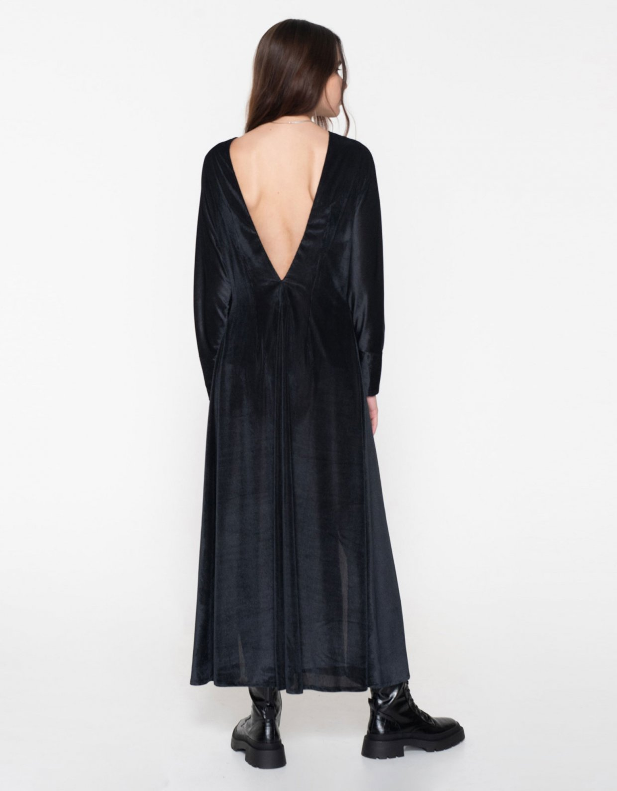 Nadia Rapti R.E.M. cord slit dress black