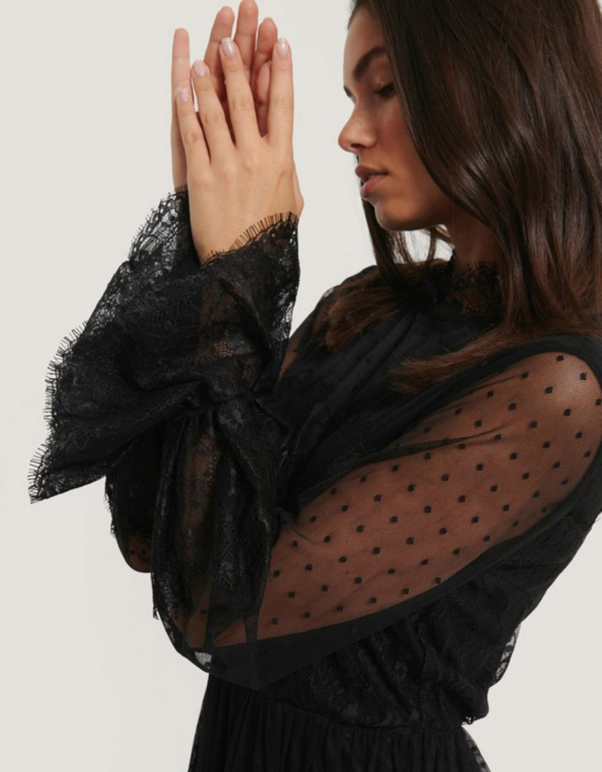 NA-KD Black frill lace dress