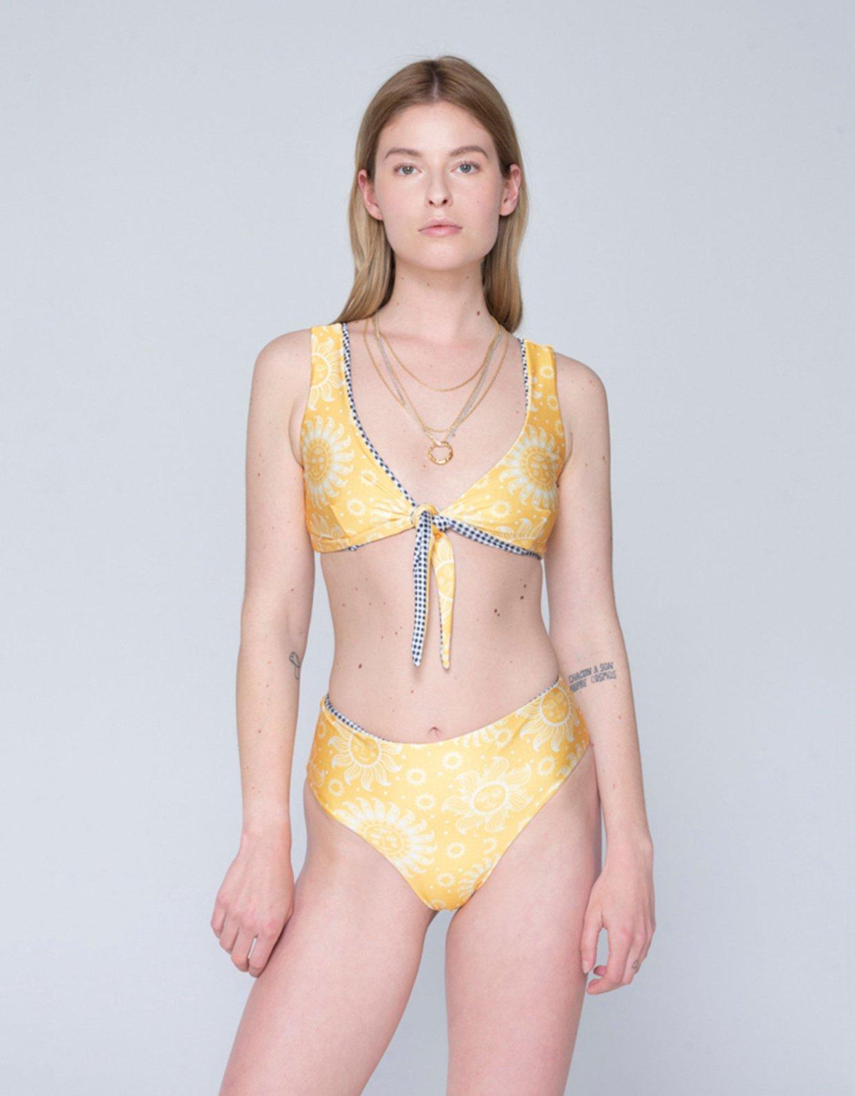 Sunset go Amelia double face bikini sun yellow/b&w plaid
