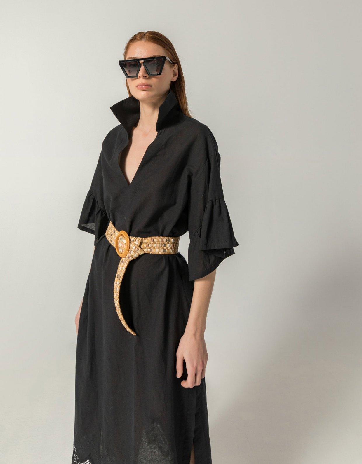 The Knl's Merit midi kaftan dress black