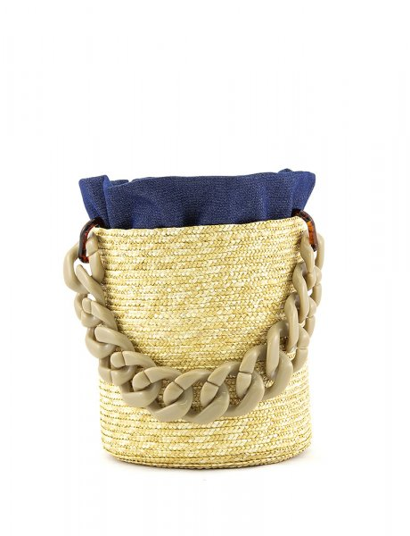 Raffia bucket - Denim pouch & beige handle