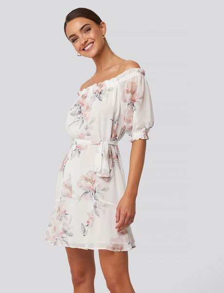 White floral off shoulder dress