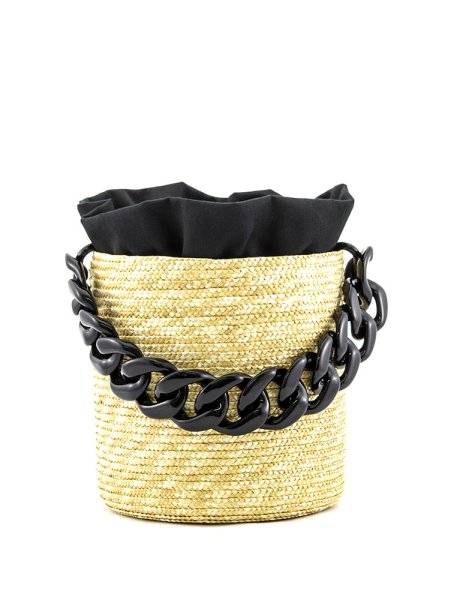 Raffia bucket - Black pouch & black handle