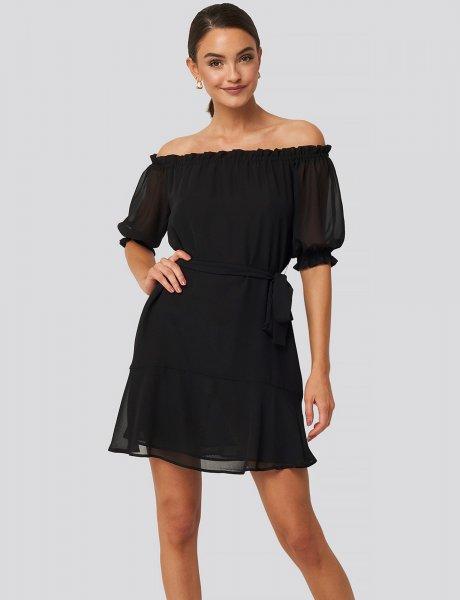 Black off shoulder tie dress