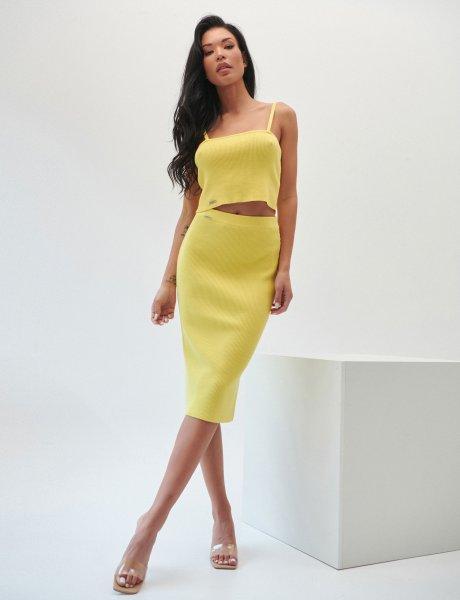 Combos S26 - Yellow midi skirt