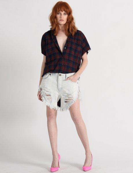 Frankies long length denim shorts