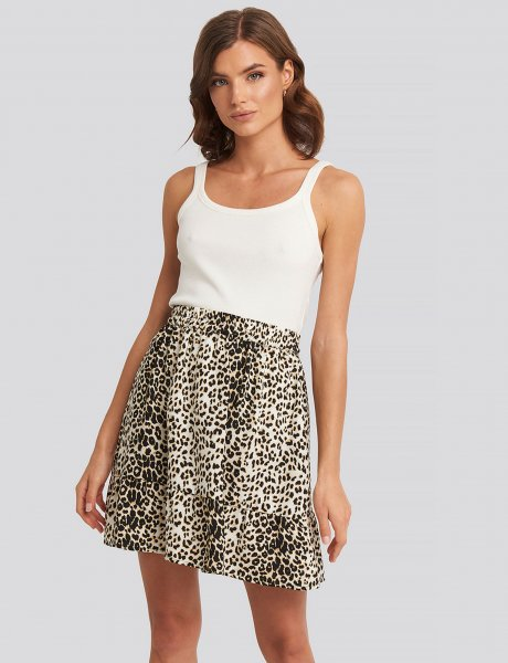 Leopard flowy mini skirt