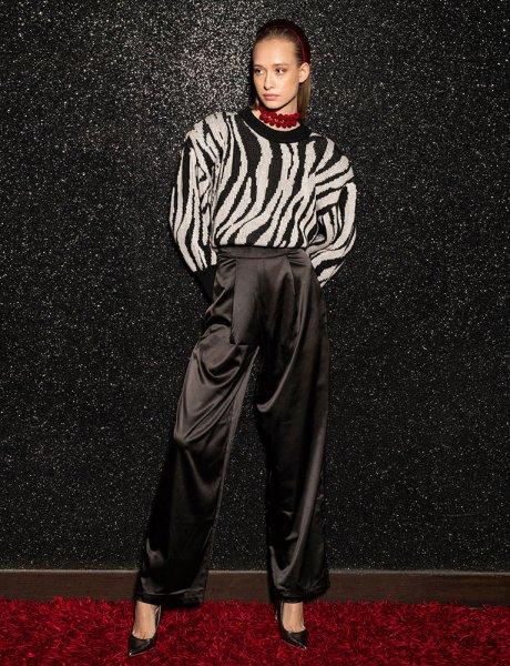 Jaclyn black satin pants