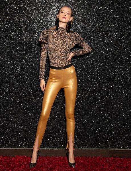 Evelyn gold leggings
