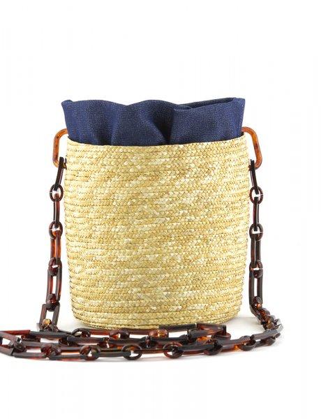 Raffia shoulder bag - Denim pouch & tortoise handle