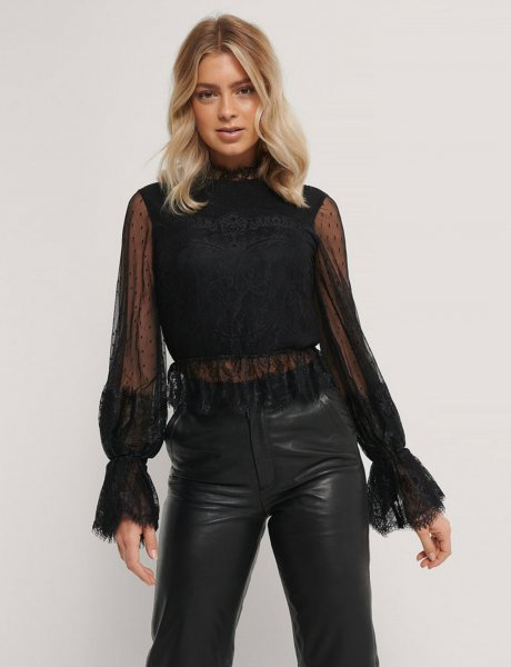 Black frill lace top