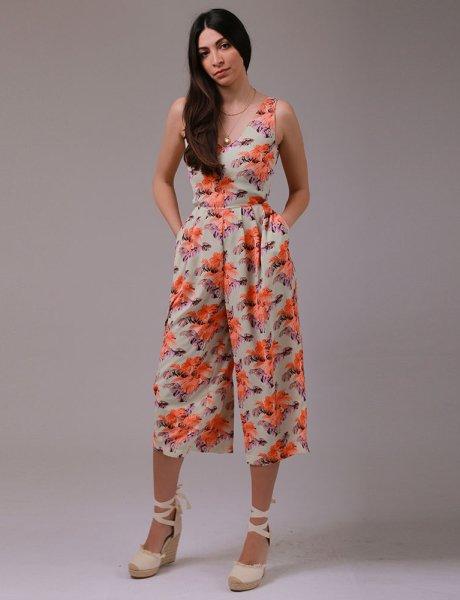 Pistachio floral jumpsuit