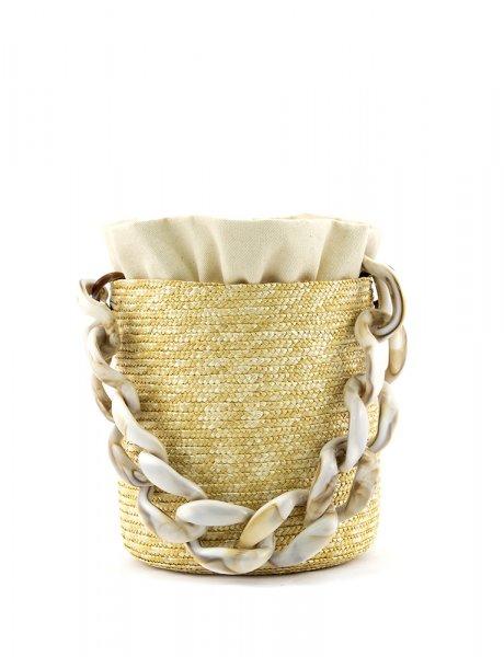 Raffia bucket - marble handle & beige pouch