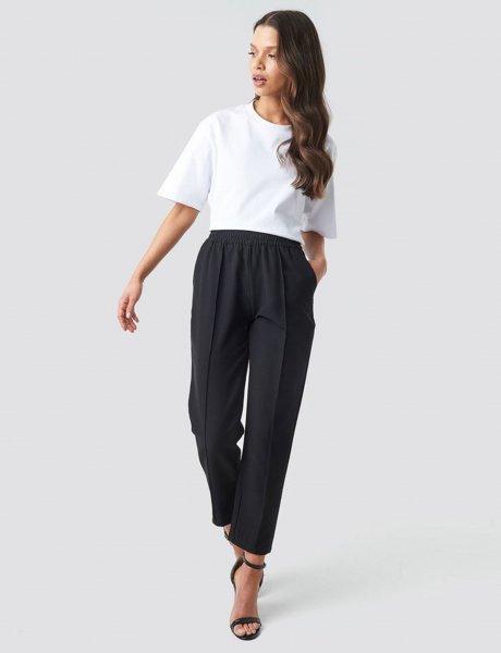 Elastic waist seamline black pants