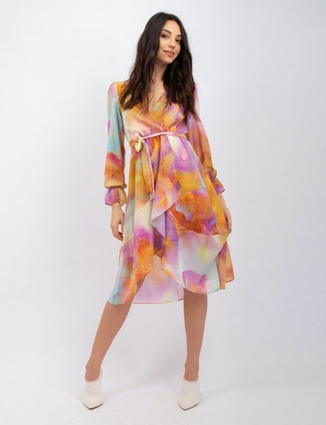 Tie dye orange wrap dress