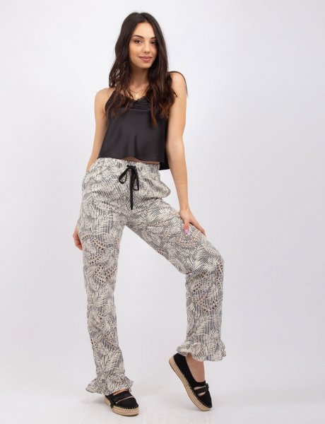 Embroidered stiped B/W pants