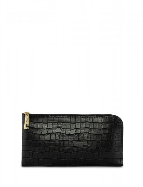 Mini clutch bag black croco