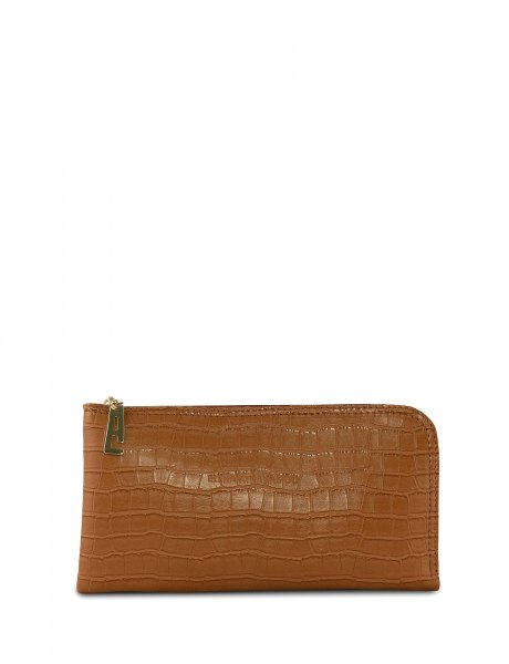 Mini clutch bag cognac croco