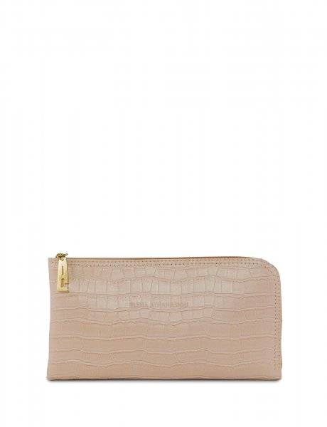 Mini clutch bag powder pink croco