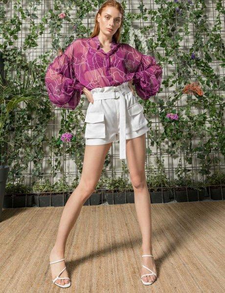 Mosaic magenta line print silk shirt