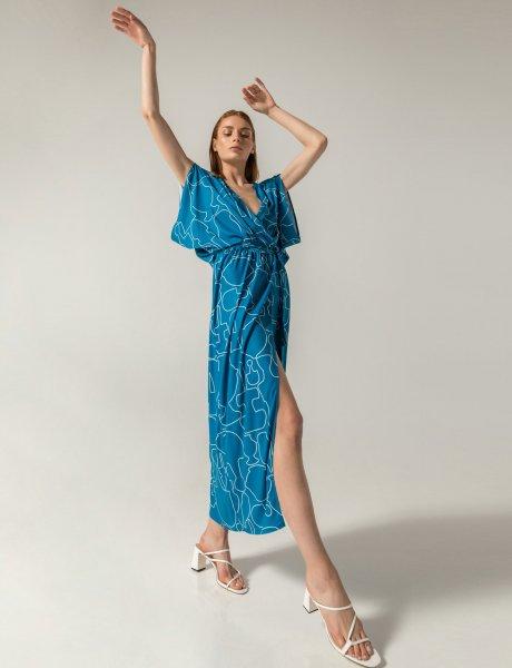 Merou dress blue line print