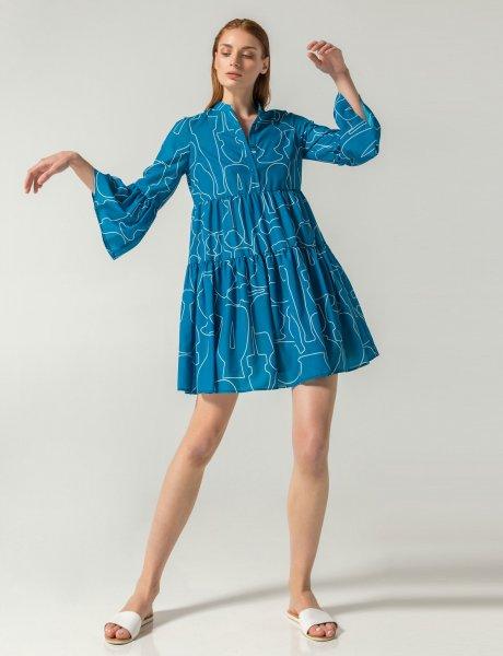 Giornata blue line print dress