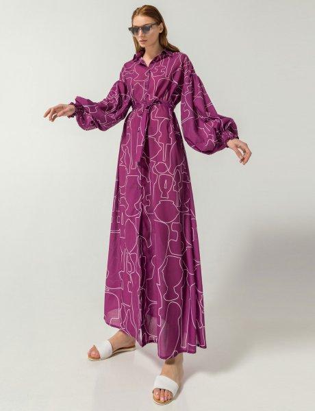 Swank magenta line print dress
