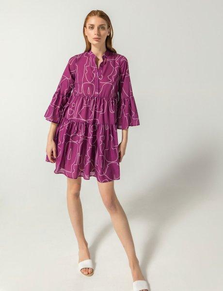 Giornata magenta line print dress