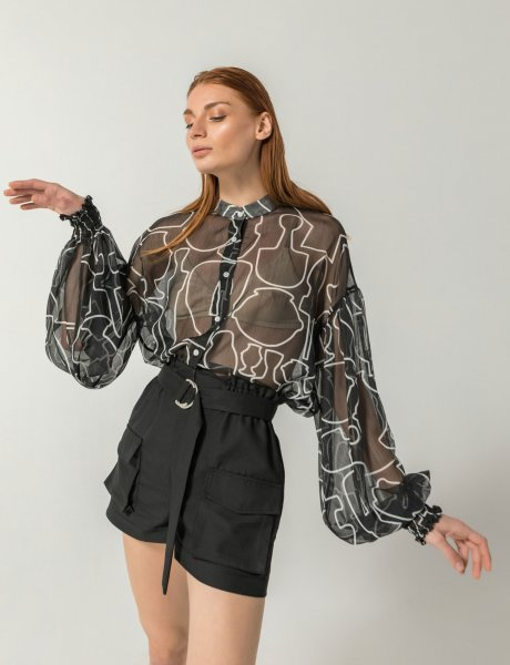 Mosaic black line print silk shirt
