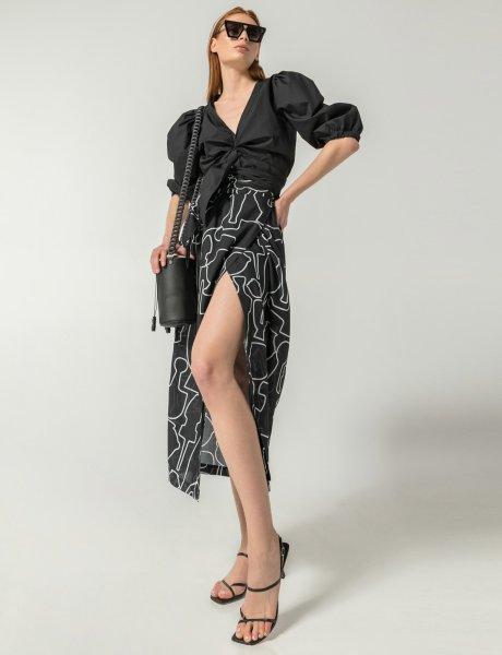 Column black line print skirt