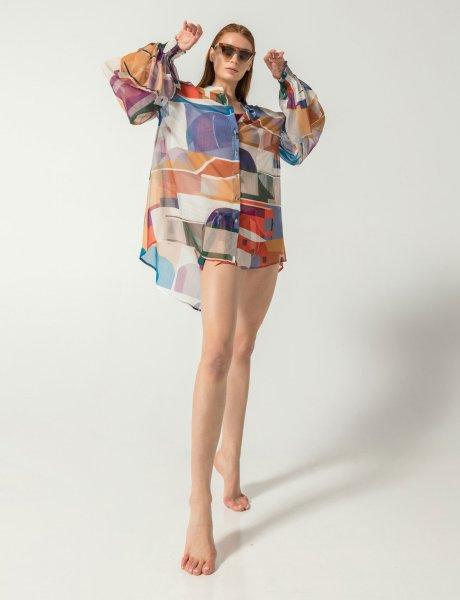 Mosaic isla print silk shirt