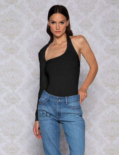 One sleeve black bodysuit