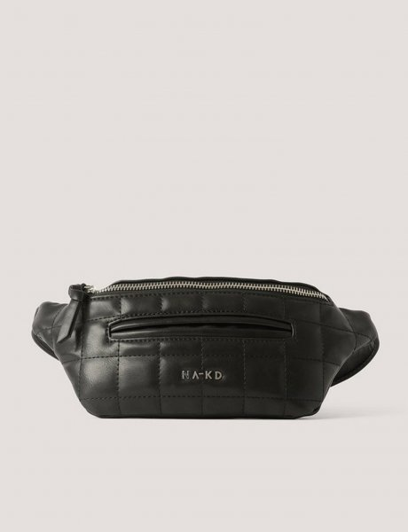 Squared quilted fanny pack black