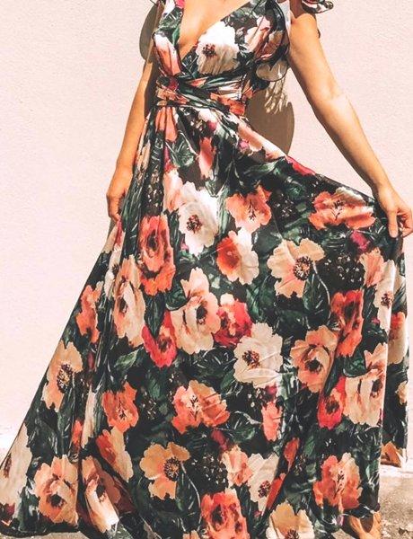 Scalaire black floral dress