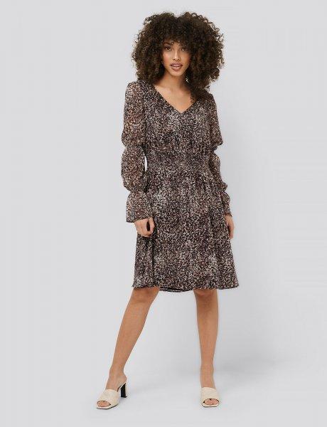 Smock detail chiffon dress