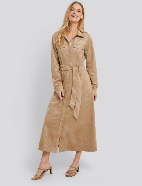 Utility faux suede shirt dress beige