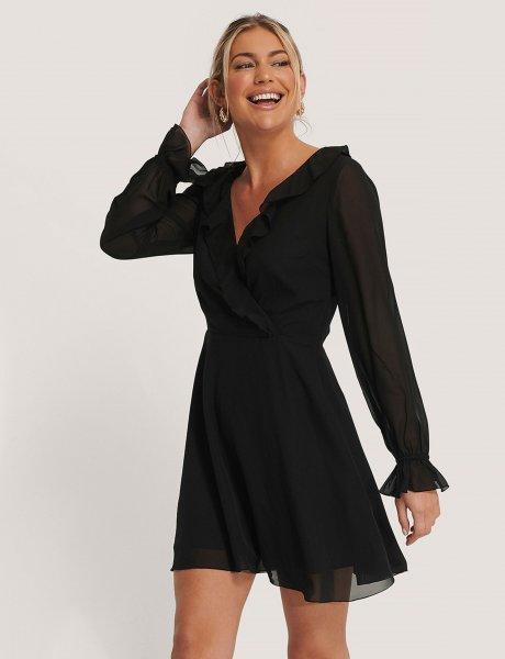 Black wrapped ruffle dress