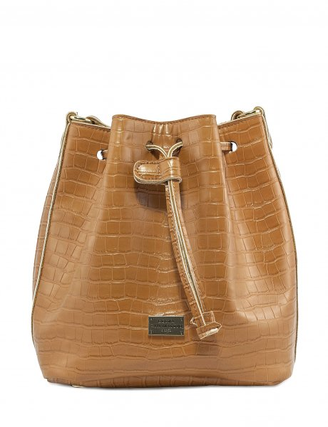 Croco pouch bag cognac