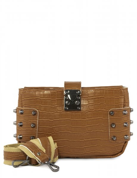 City lady croco clutch bag cognac