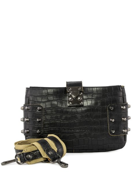 City lady croco clutch bag black